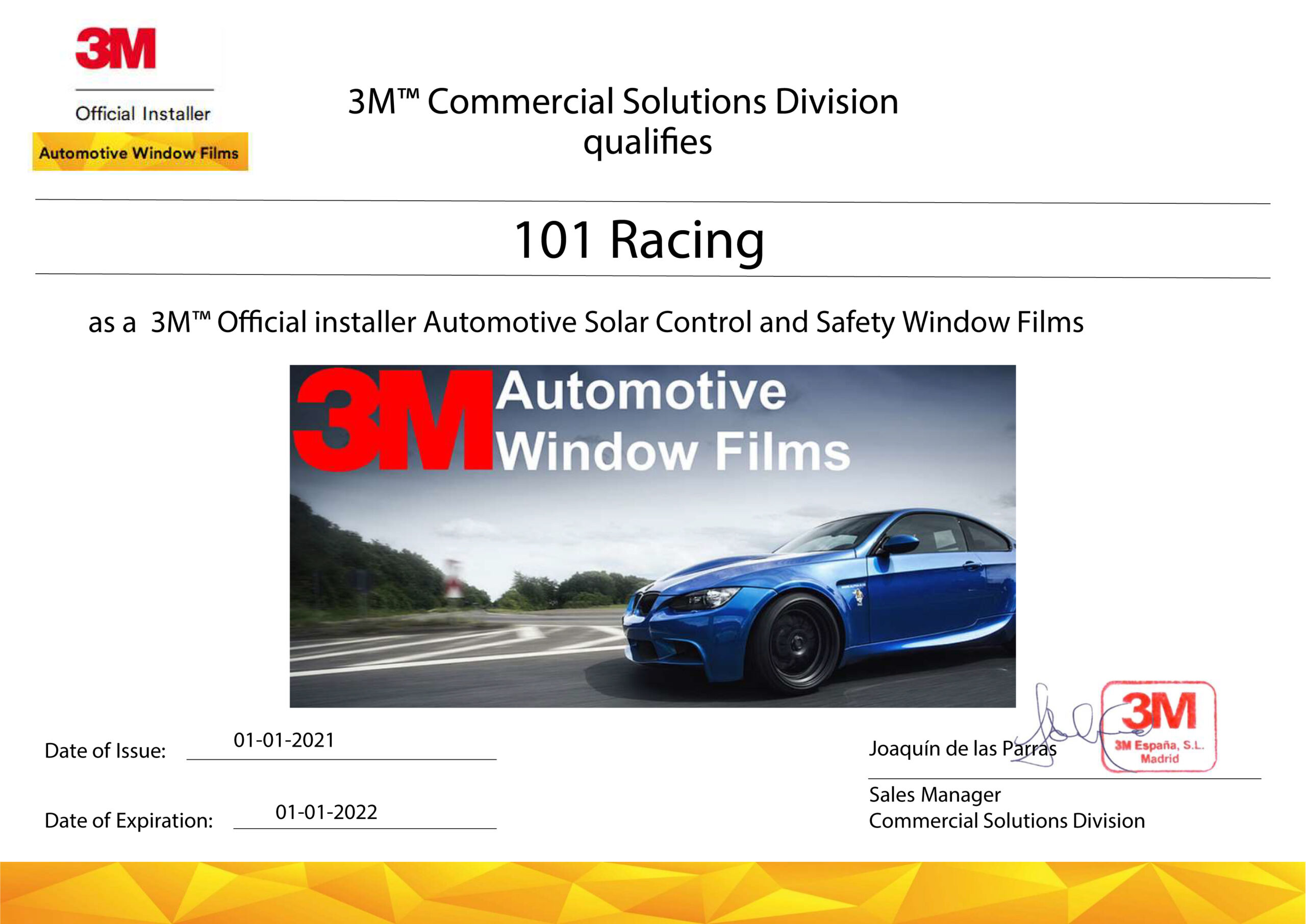 Certificado de renovación láminas solares 3M para 101Racing