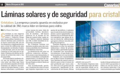 Cristalam para el periódico Canarias7 «Láminas solares y de seguridad».