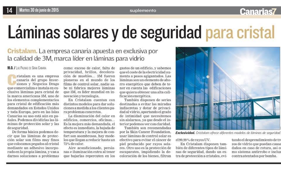 reportaje Canarias 7 Cristalam 3M