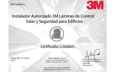 Nuestra marca Cristalam renueva su certificado con la multinacional 3M como instaladores exclusivos en Canarias.