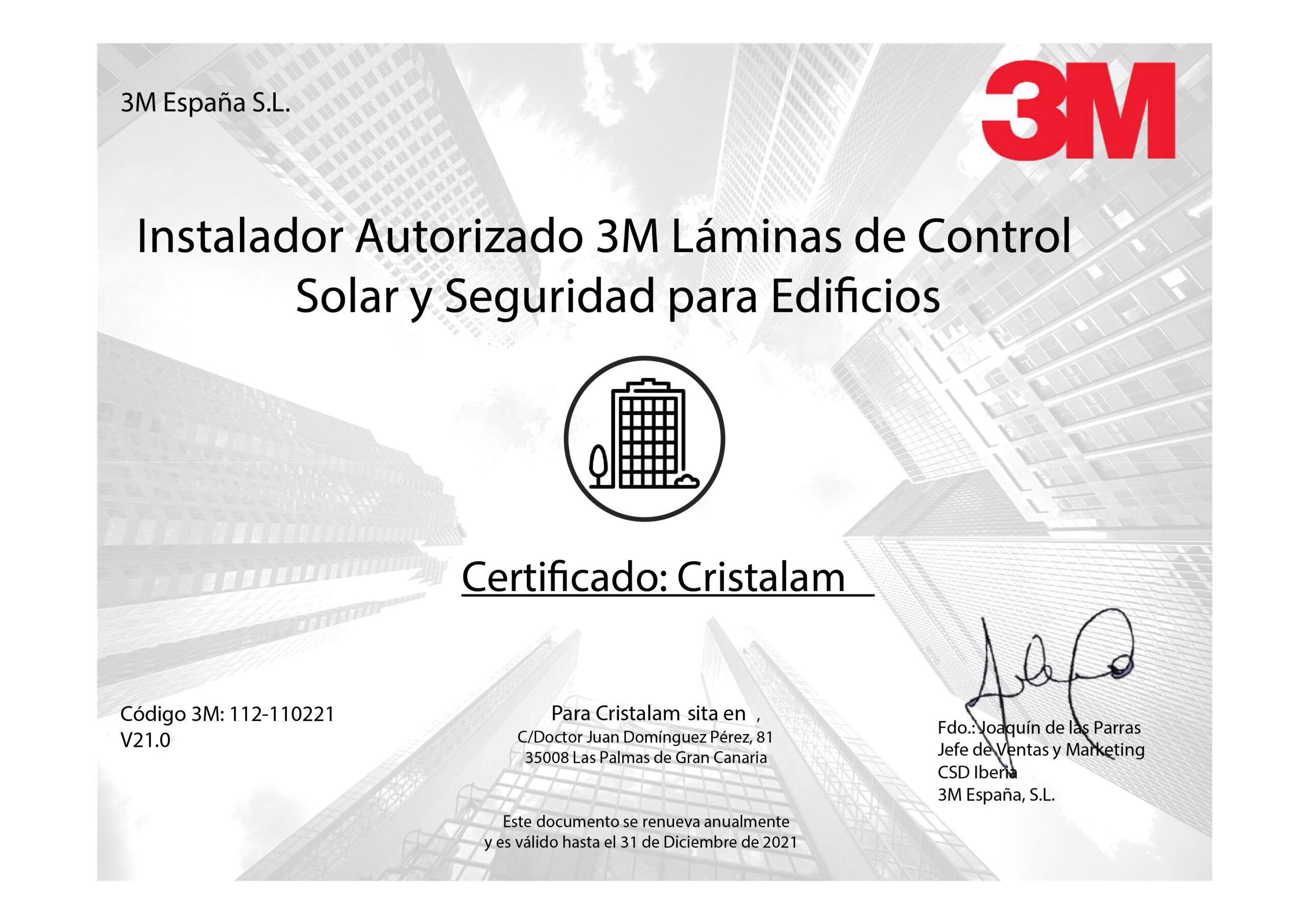 certificado instaladores oficiales y exclusivos de láminas solares 3M en Canarias